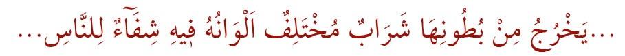 Nahl Sûresi, 69. âyet Şifa Ayeti 3